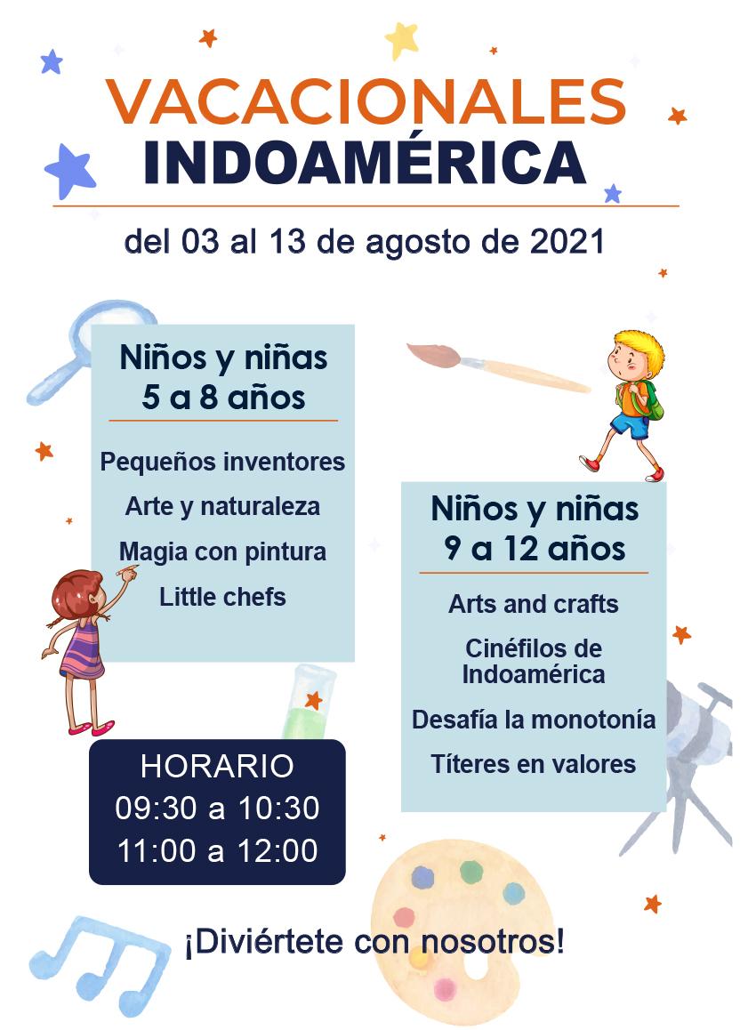 Vacacionales Indoamérica del 03 al 13 de Agosto del 2021